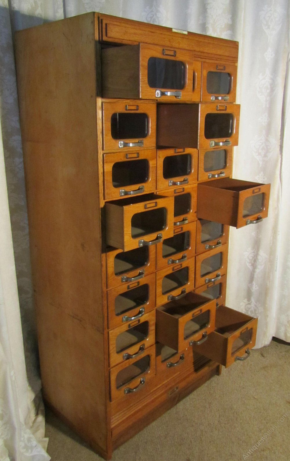 Art Deco Tall Haberdashery Cabinet Counter Shop