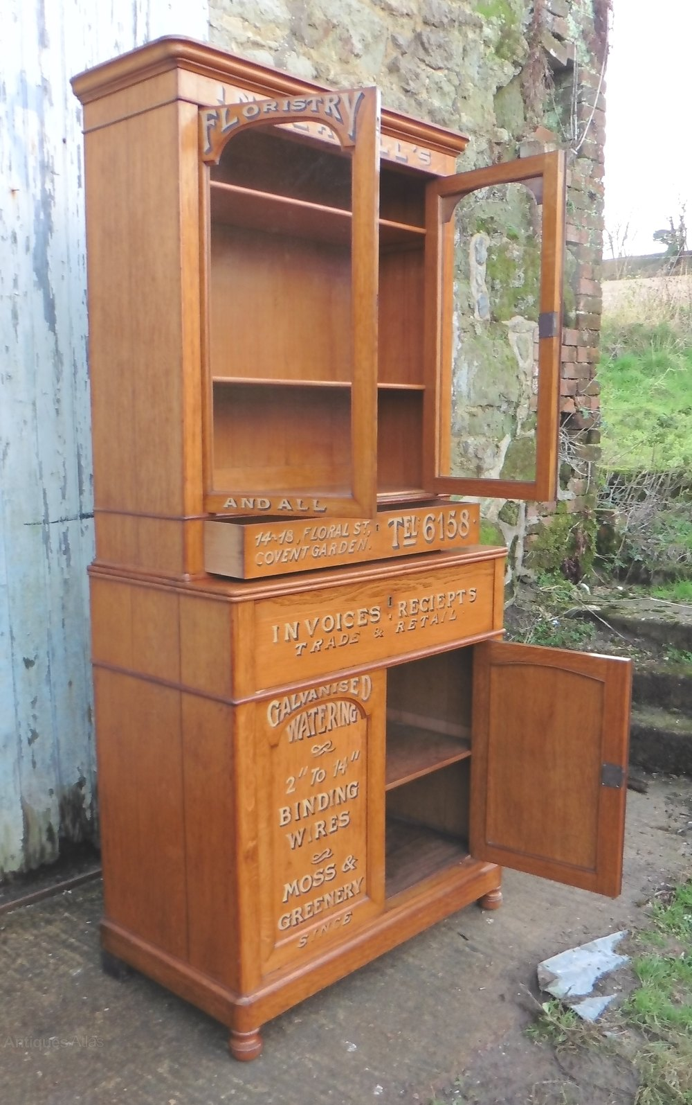 Arts and crafts golden oak bookcase secretaire antiques for Arts and crafts bookcase