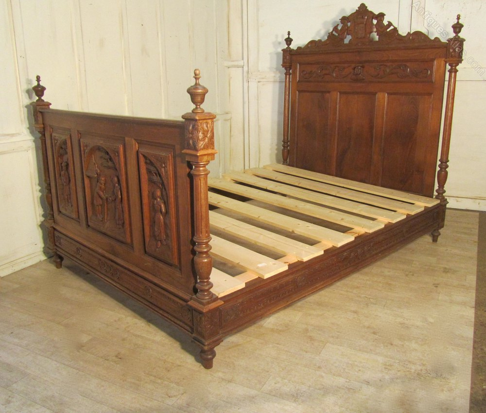 Great Breton Carved Golden Oak Marriage Double Bed Antique French Beds