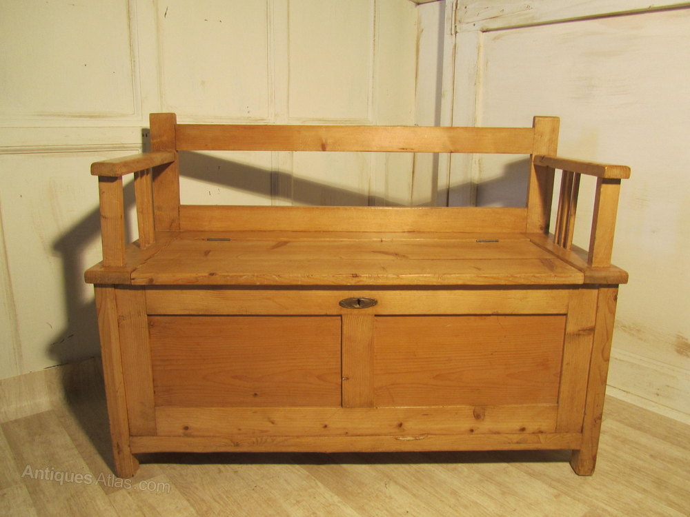 European Rustic Pine Box Settle Bench Hall Seat Antiques Atlas