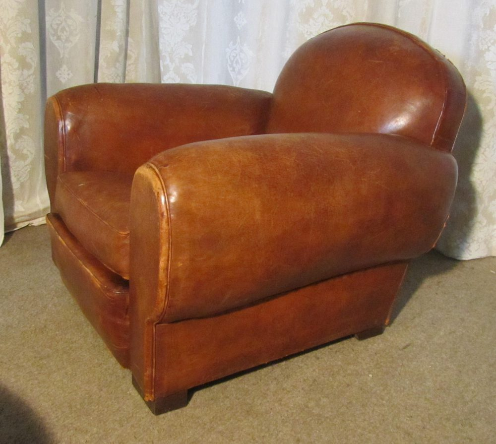 ... Antique Club Chairs - French Aged Leather Art Deco Club Chair - Antiques Atlas