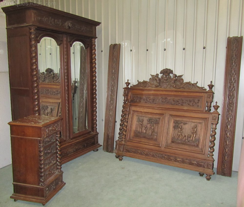 french carved oak bedroom set in the style of henri ii