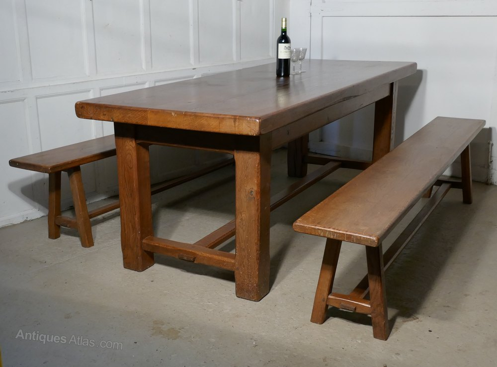 French country oak farmhouse table and benches antiques for Farmhouse bench