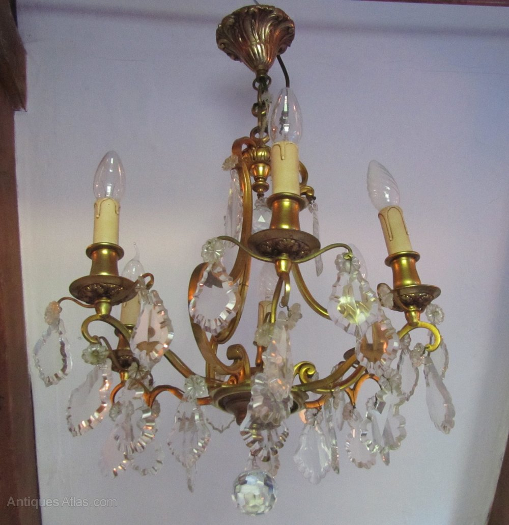 Antiques Atlas French Cut Glass And Brass 6 Branch