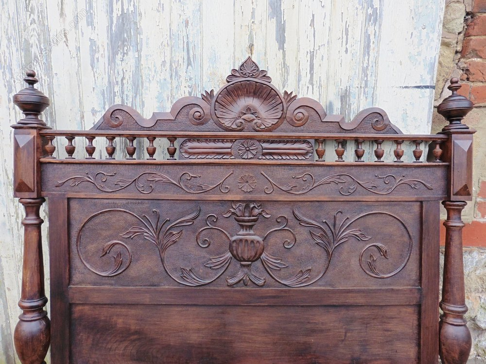 French gothic carved oak bed head board antiques atlas