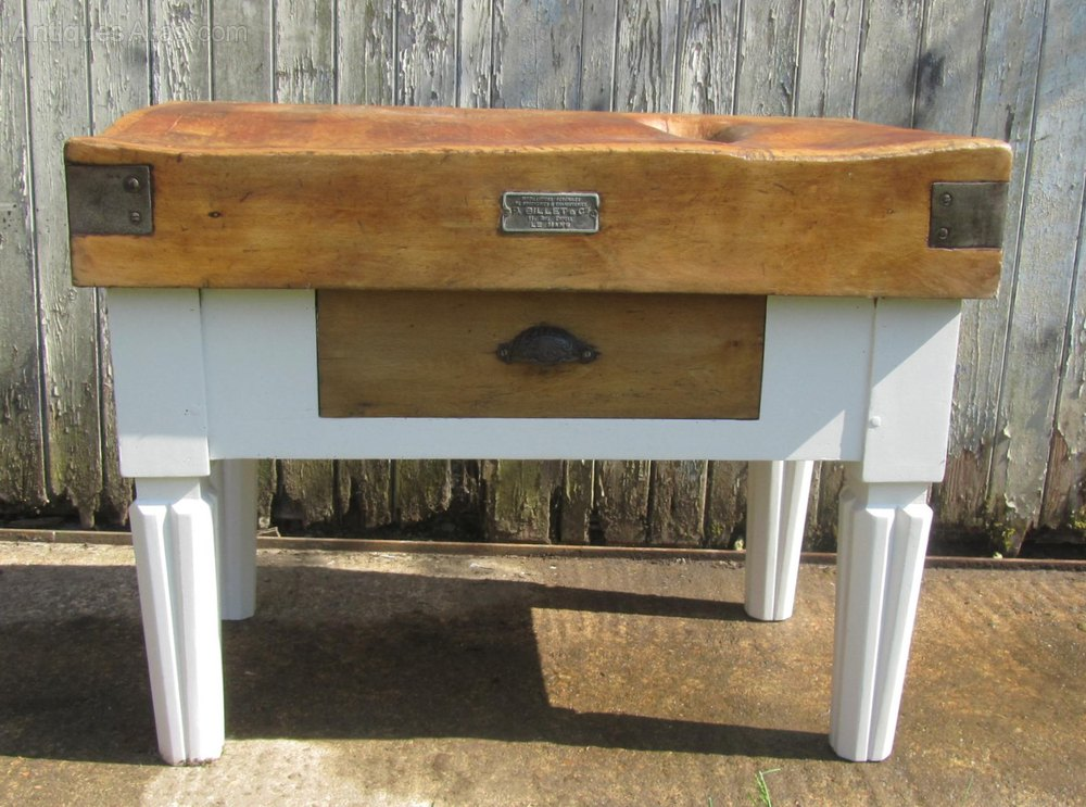 French vintage butchers block kitchen island antiques atlas for Antique kitchen island