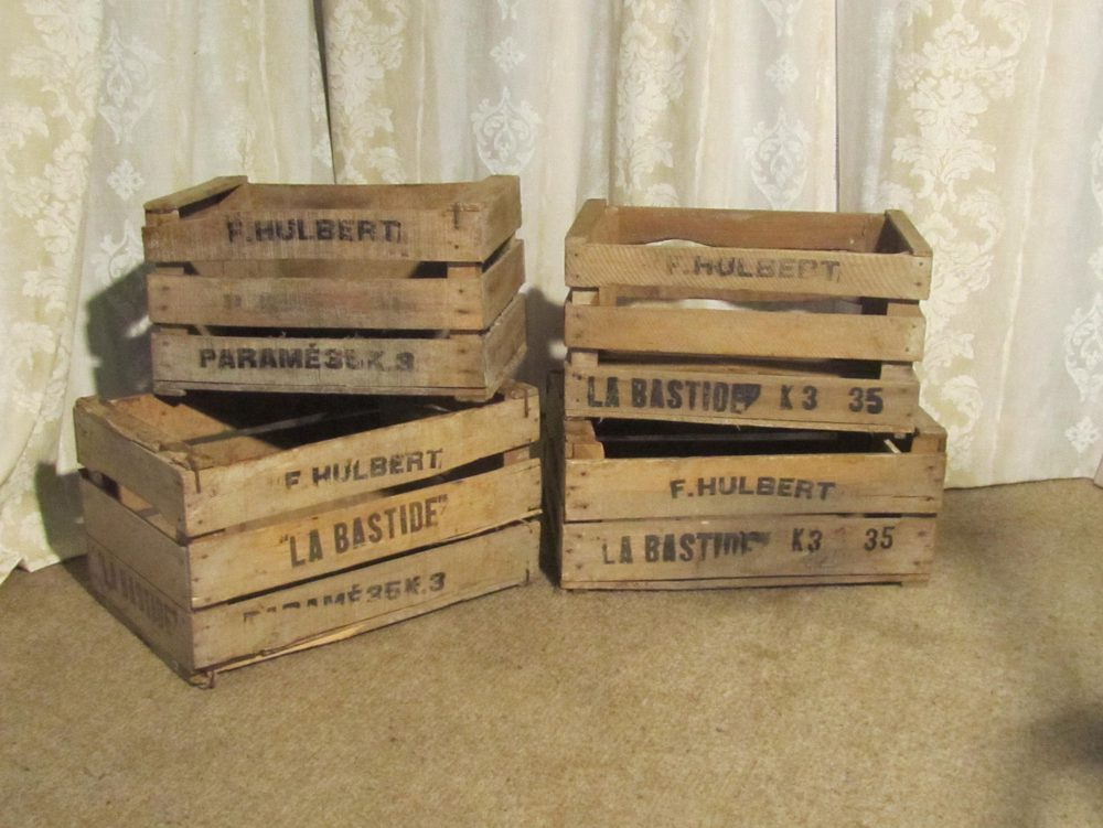 Antiques atlas french wooden fruit boxes or vegetable crates for Wooden fruit crates