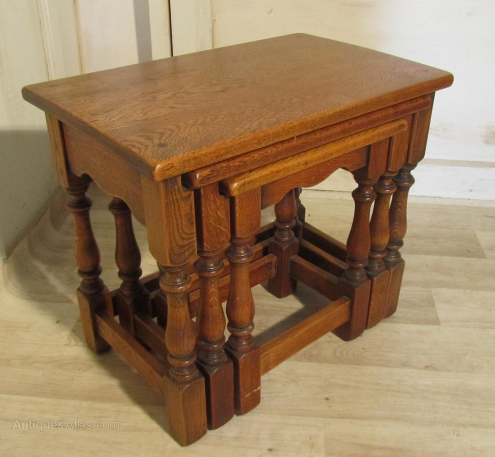 Golden oak nest of tables antiques atlas