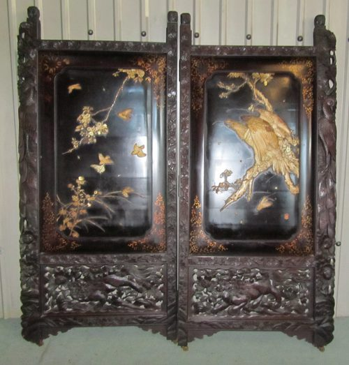 Mother Of Pearl Inlay Wooden Mini Folding Screen Asian: Large 19th Century Japanese Carved Screen