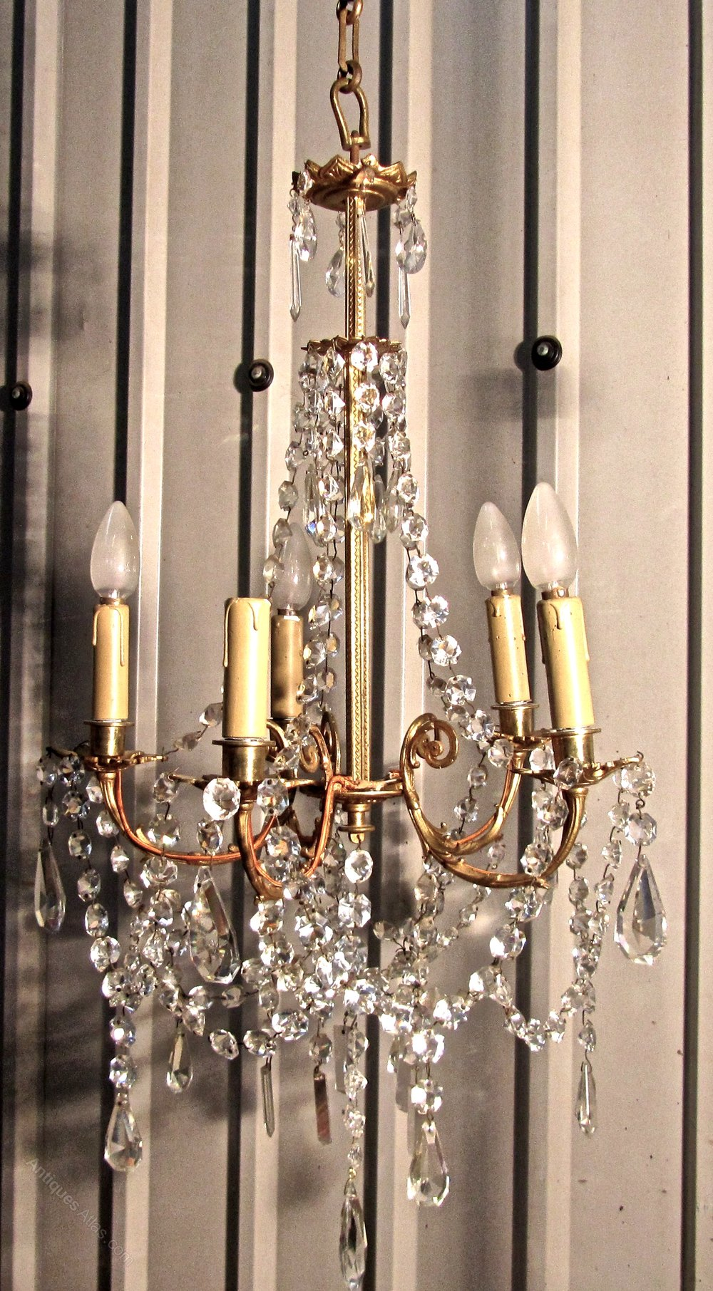 Antiques Atlas Large French Cut Glass Amp Brass 5 Branch