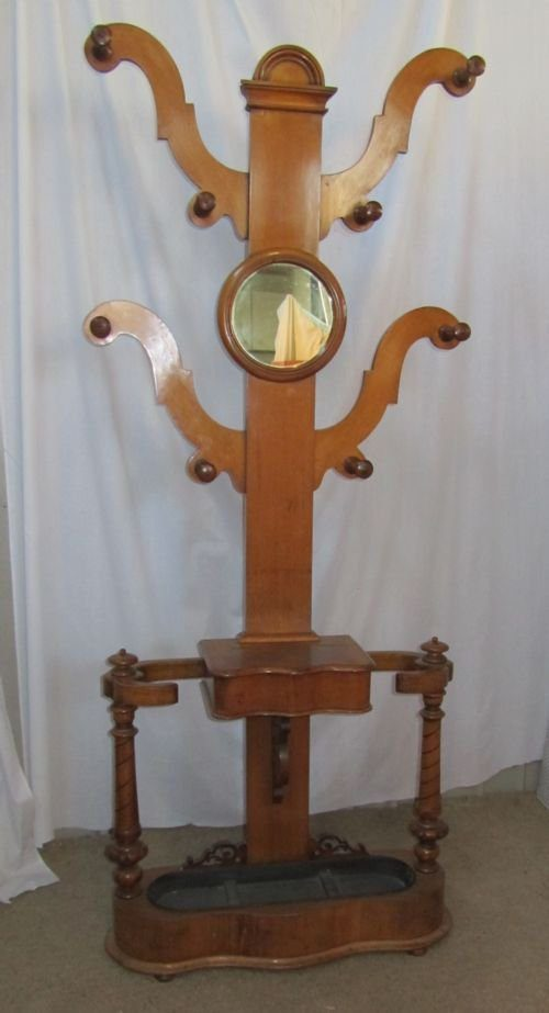 Large Victorian Golden Oak Tree Hall Stand Antiques Atlas