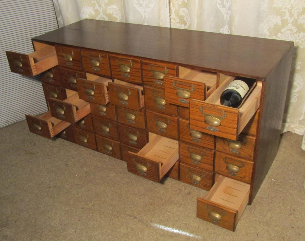 Oak 35 Drawer Card Index Filing Cabinet Wine Rack
