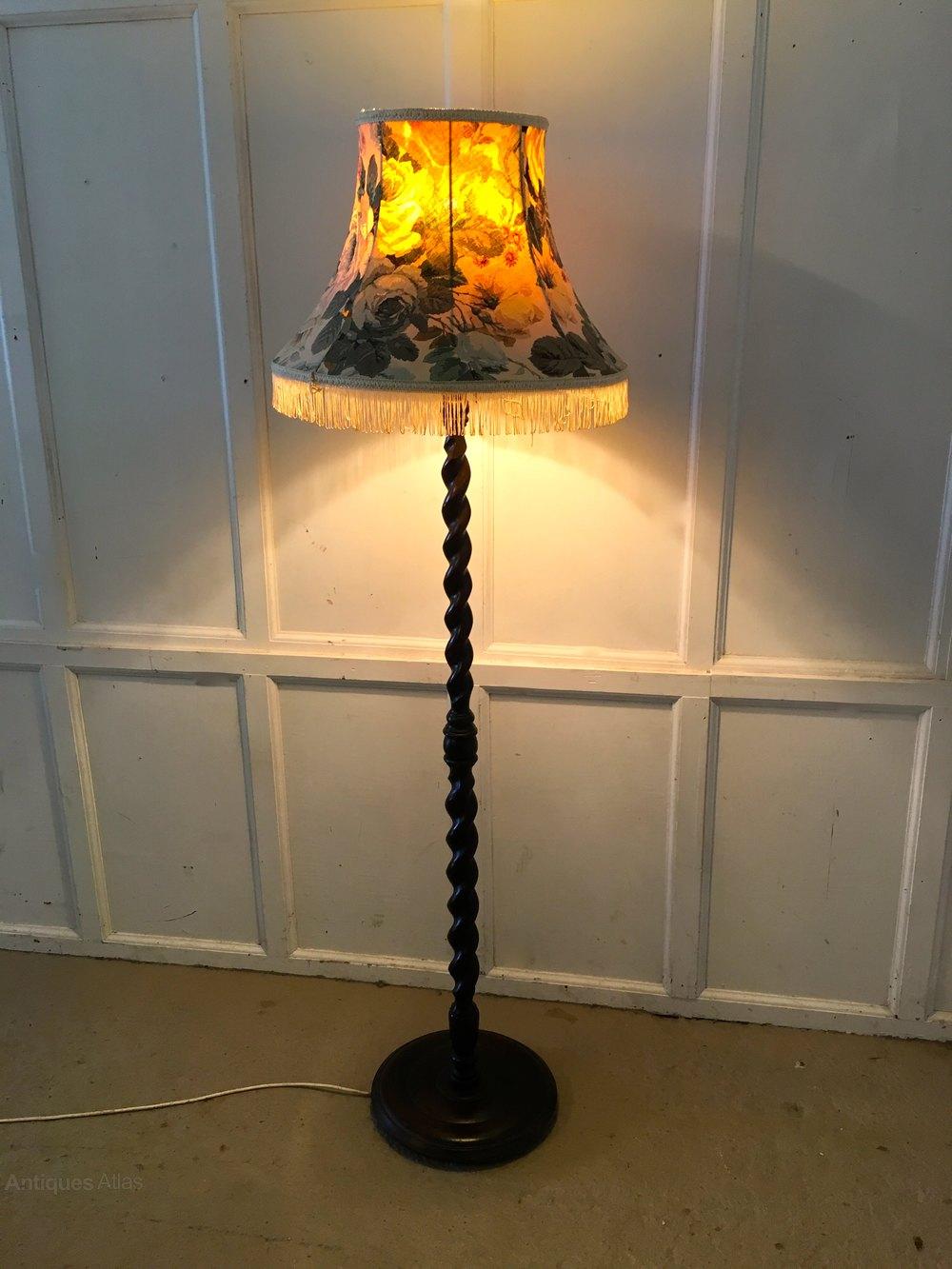 antiques atlas oak barley twist floor standing standard lamp. Black Bedroom Furniture Sets. Home Design Ideas