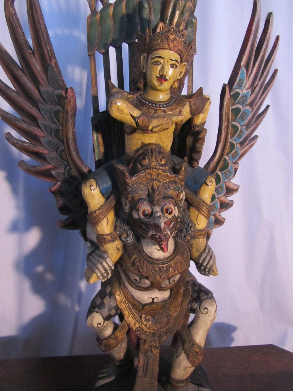Antiques Atlas Painted Wooden Statue Of Vishnu Riding Garuda