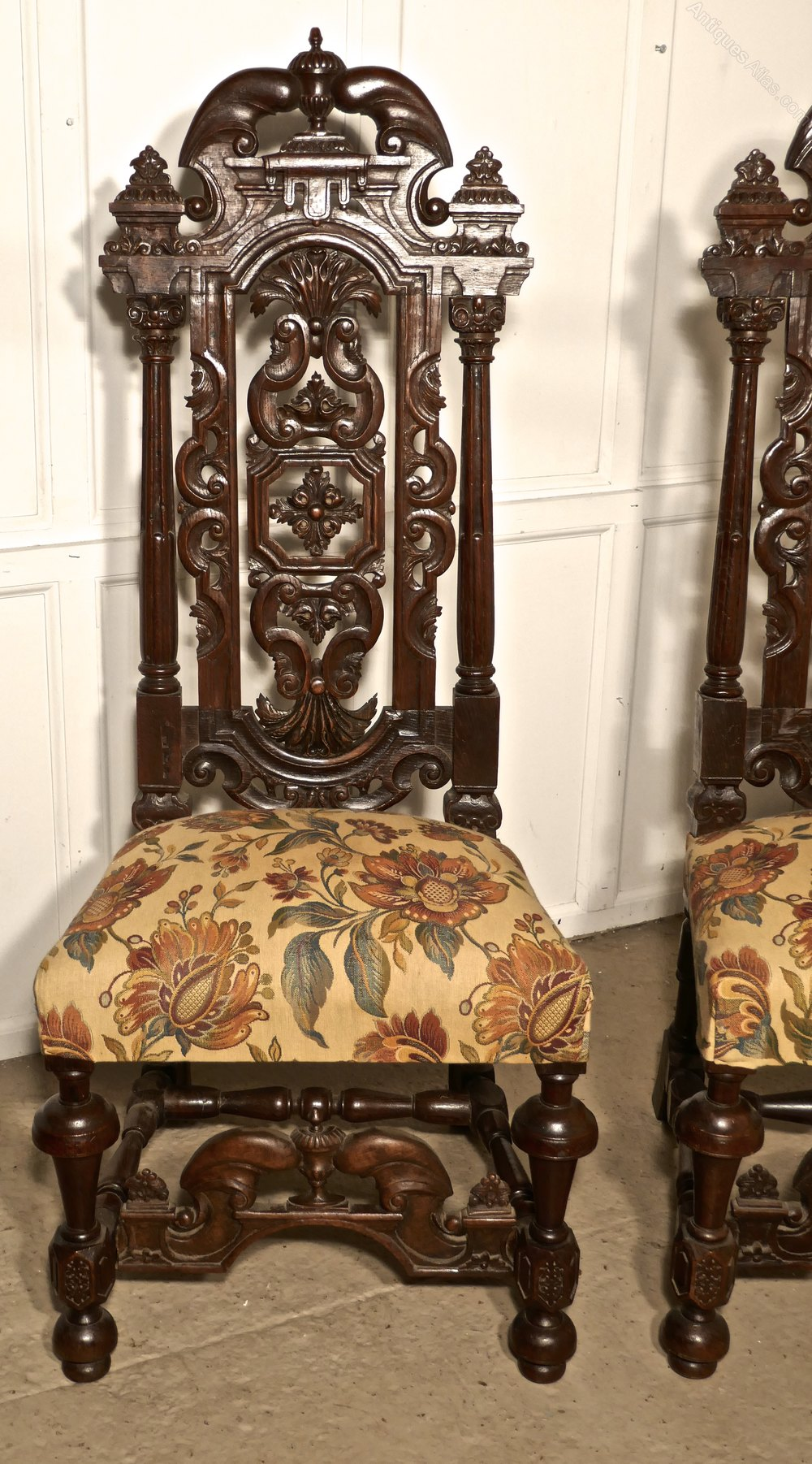 Antique Foyer Chair : Pair carved oak hall chairs wedding thrones antiques atlas