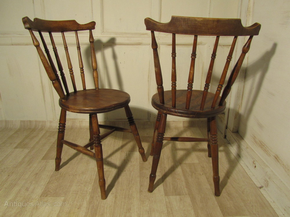 Pair Of Beech Elm Country Kitchen Dining Chairs Antiques Atlas