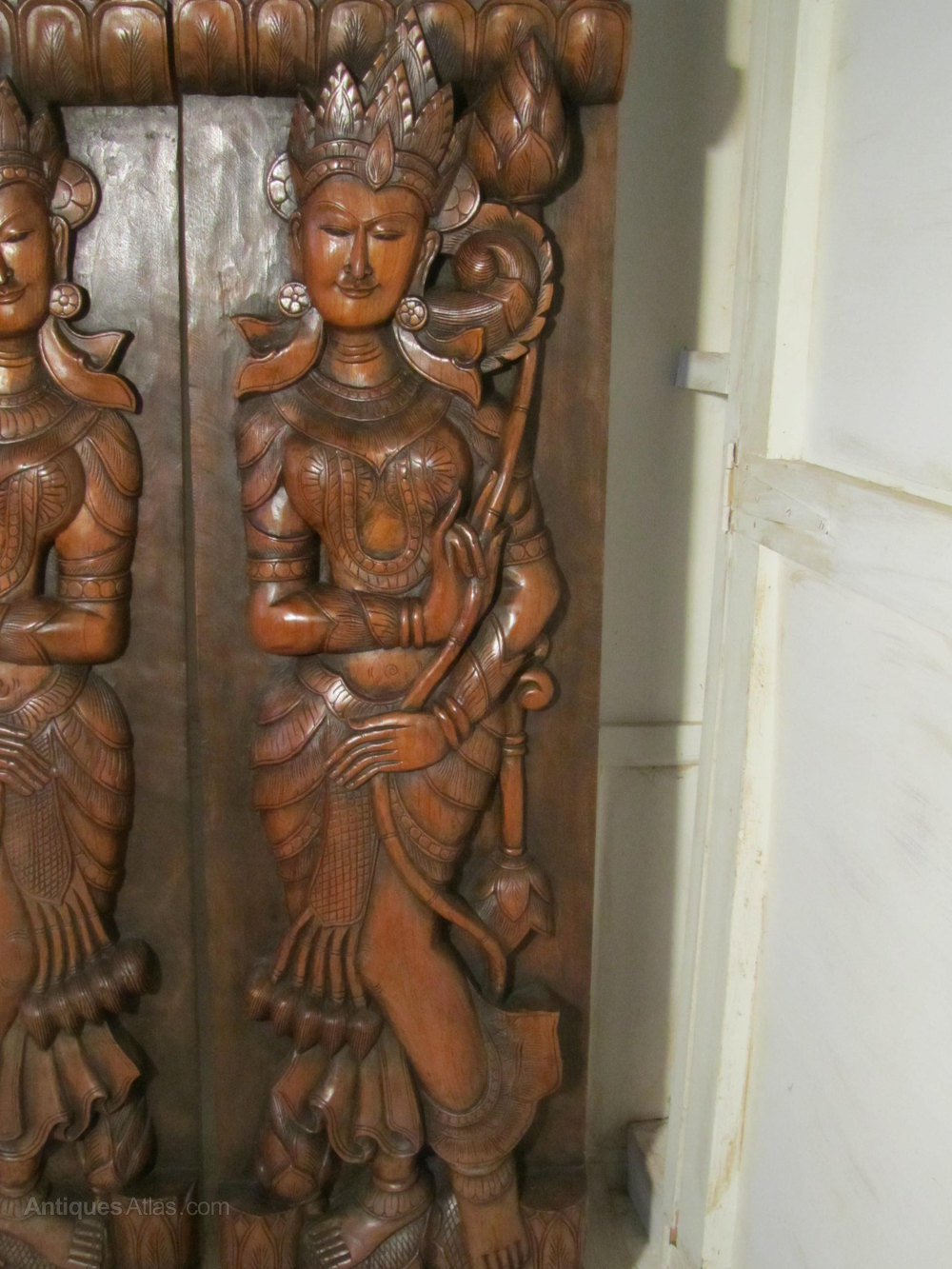 Antiques Atlas Pair Of Large Wooden Carved Panels Hindu