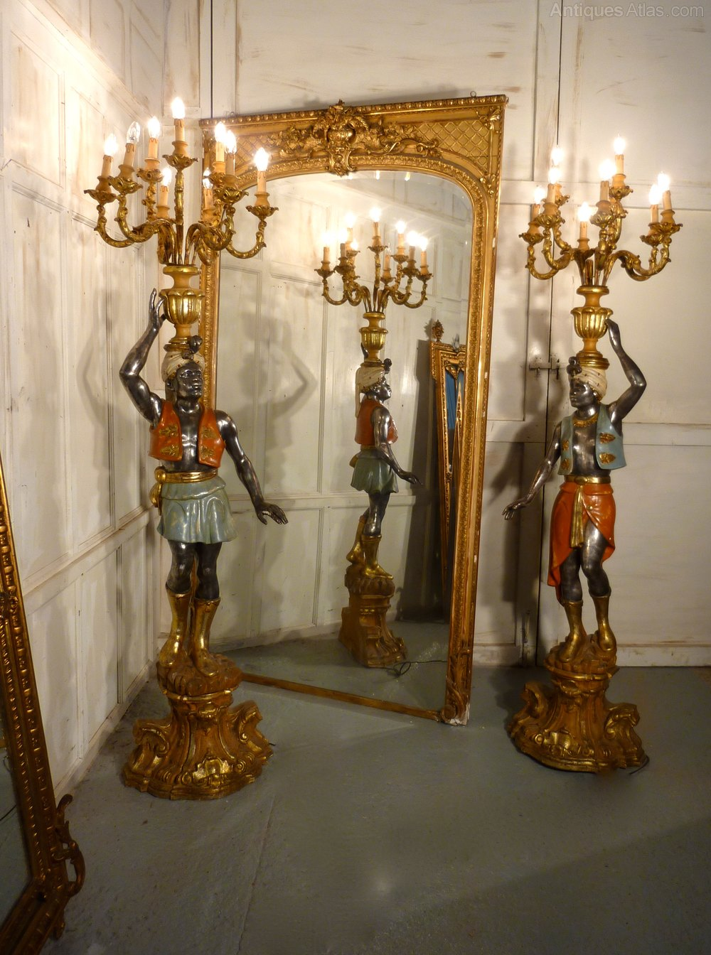 Antiques Atlas - Pair Of Venetian Blackamoor Candelabra