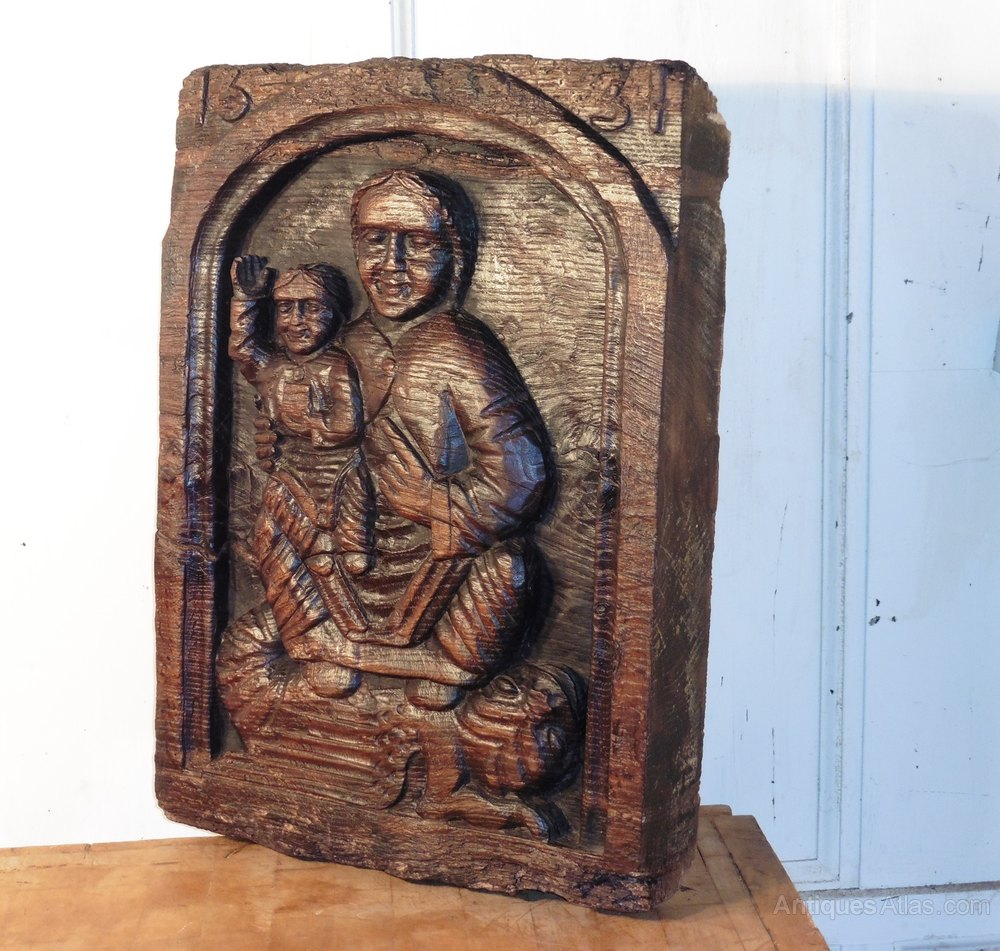 Antiques atlas primitive religious carving oak panel