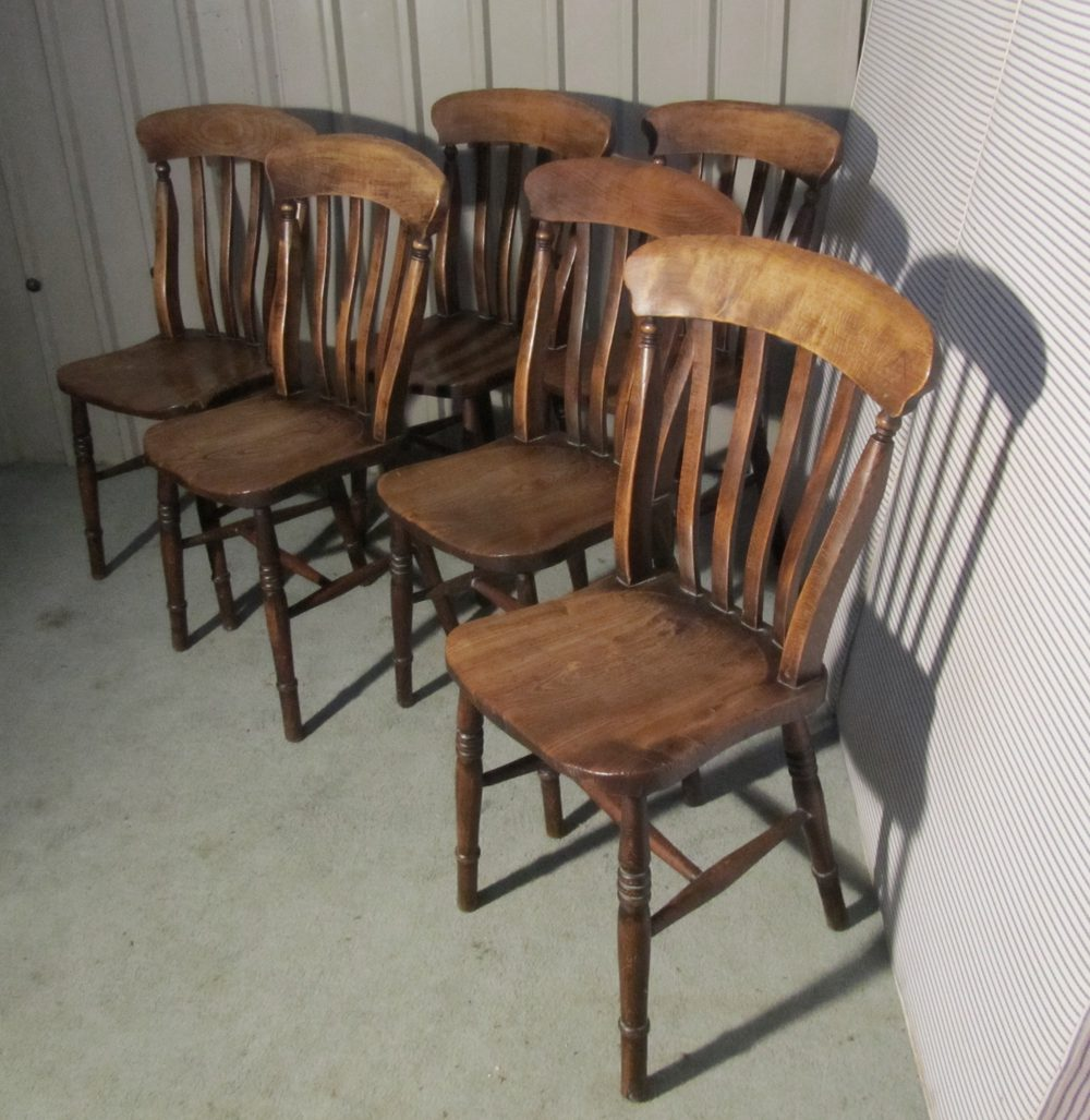 Set 6 victorian slat back farmhouse kitchen chairs for Kitchen chairs