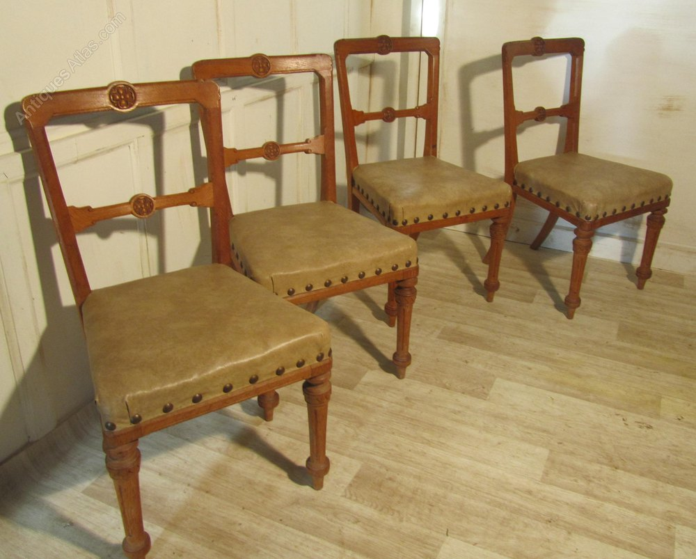 Set Of 4 Arts Amp Crafts Golden Oak Dining Chairs Antiques