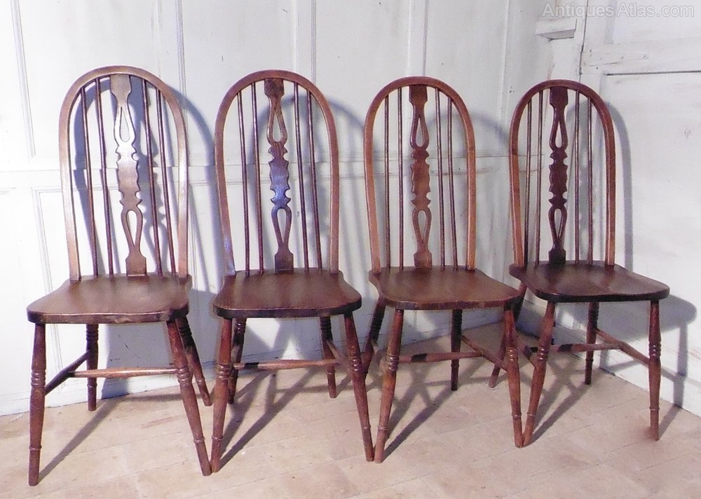 Set 4 Country Oak Kitchen Dining Chairs Wheel