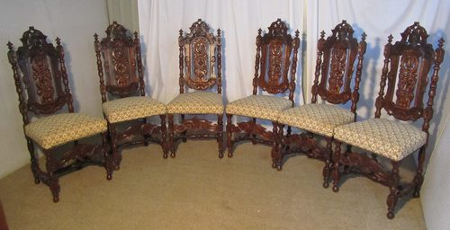 Set of 6 Victorian Gothic Oak Dining Chairs - Set Of 6 Victorian Gothic Oak Dining Chairs - Antiques Atlas