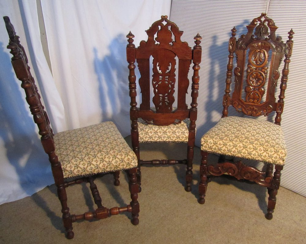 Set of 6 victorian gothic oak dining chairs antiques atlas for Victorian gothic chair