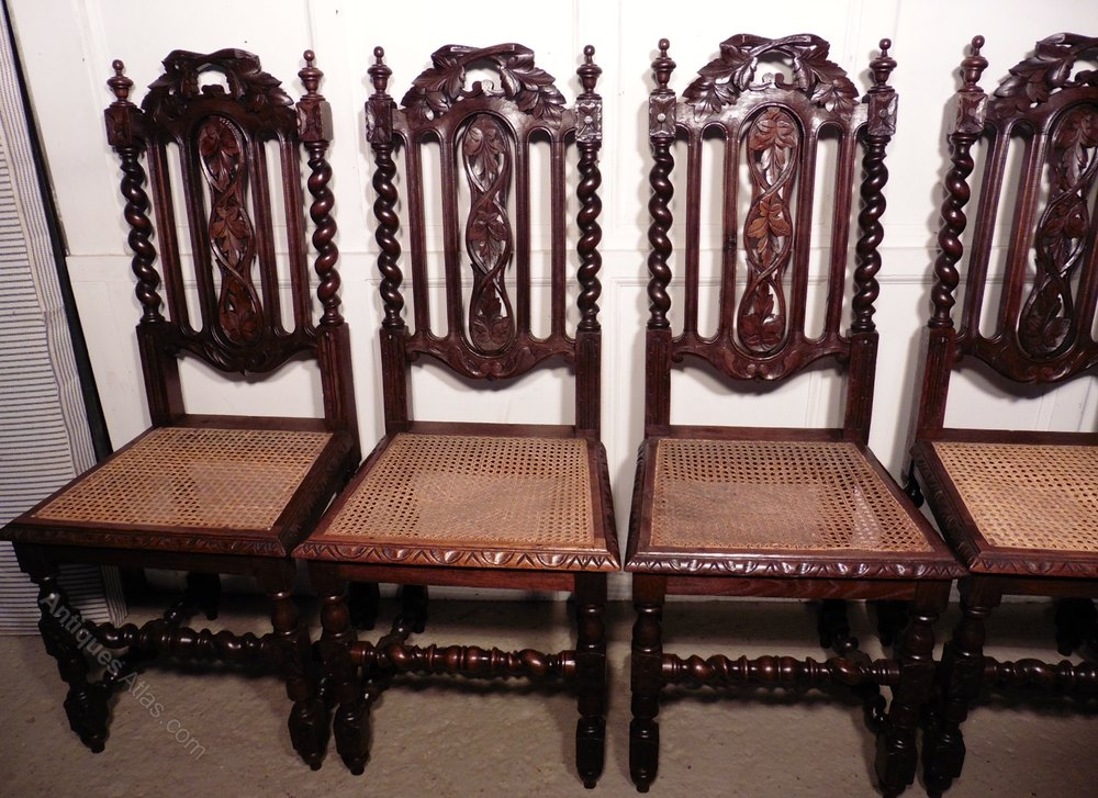 Set Of 6 Victorian Gothic Style Oak Dining Chairs - Antiques Atlas