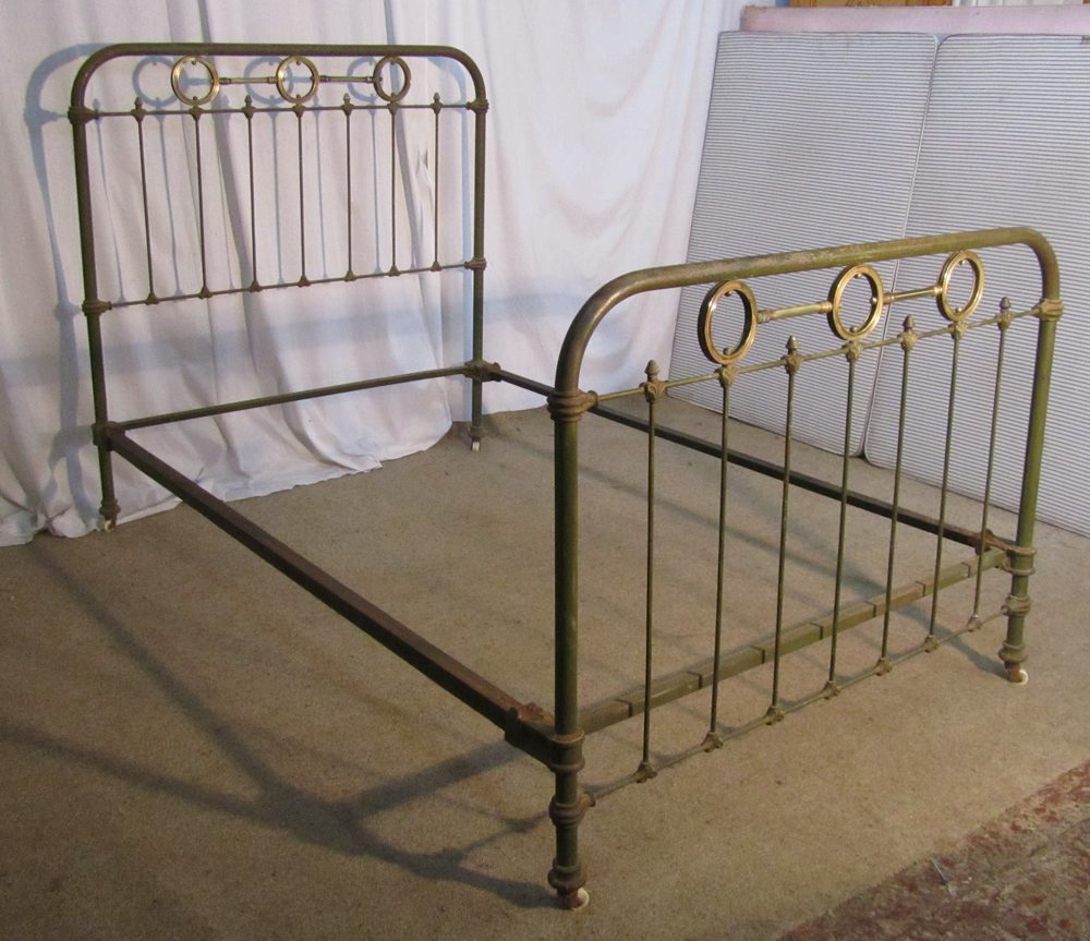 Antique french iron bed - Shabby Painted French 19th C Brass And Iron Bed Antique Brass Beds