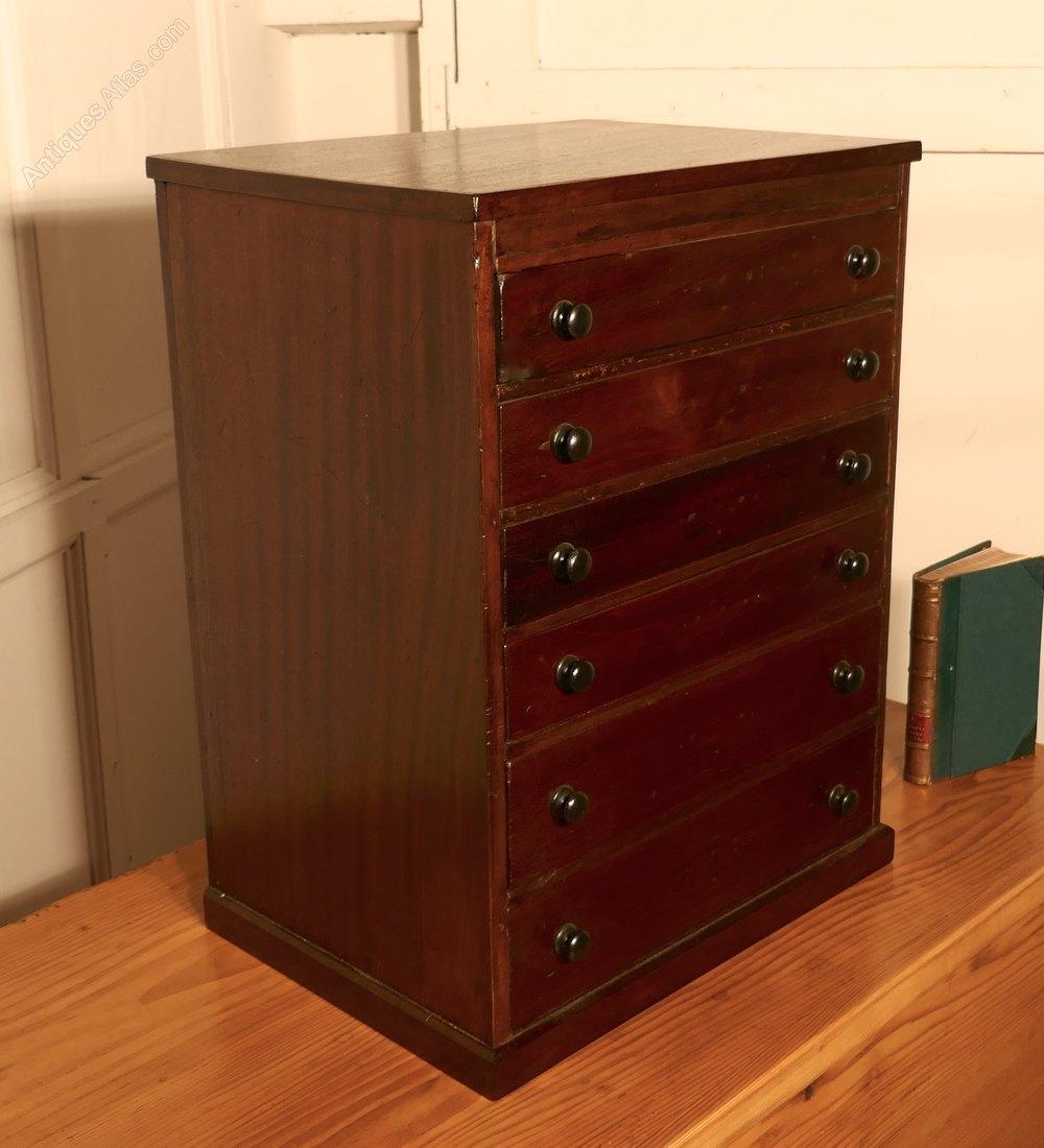 Small Mahogany Filing Cabinet Collectors Cabinet