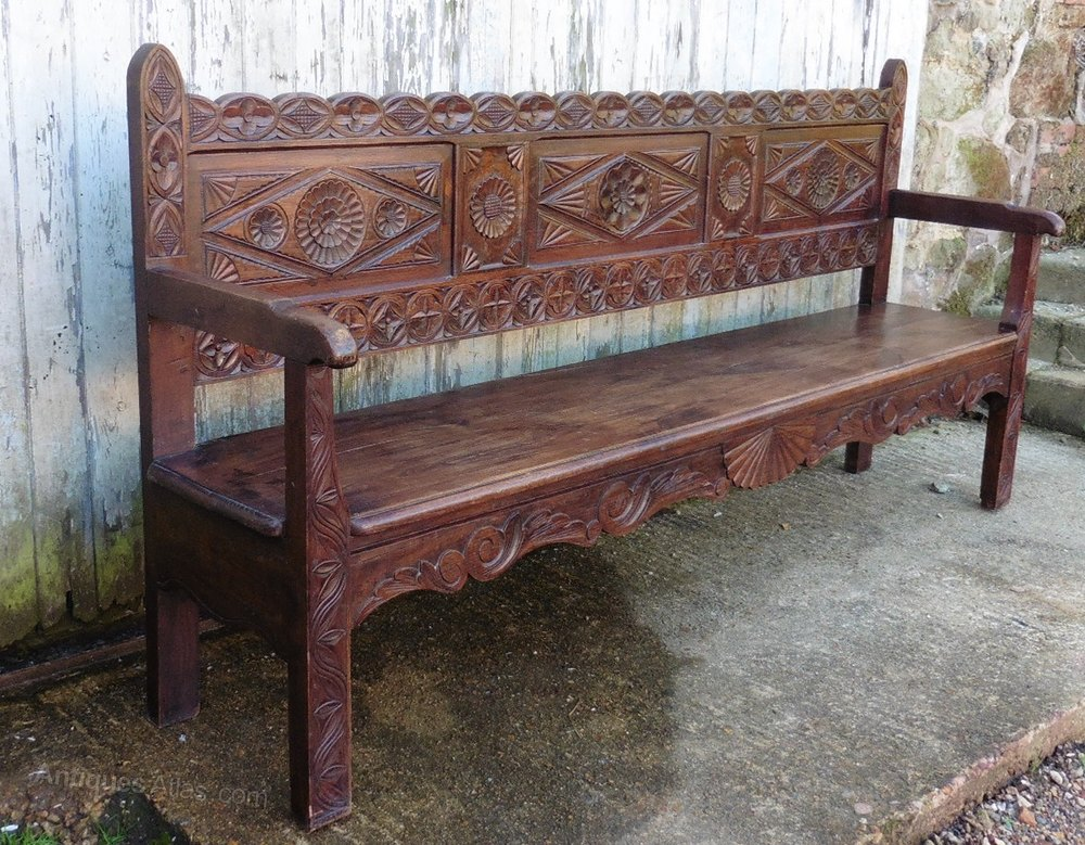 Very Long French Carved Oak Bench Settle Antiques Atlas