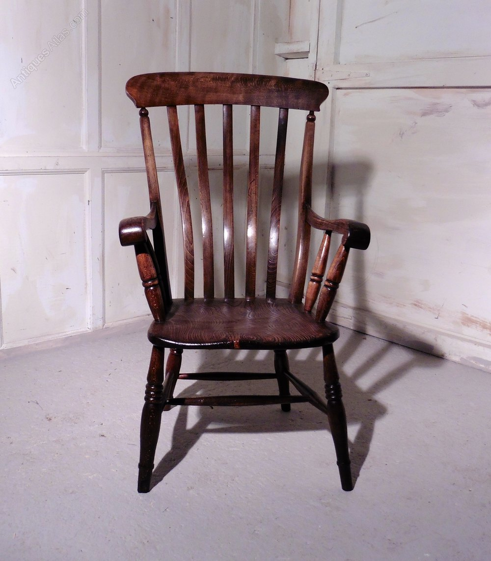 Victorian beech and elm slat back carver chair antiques