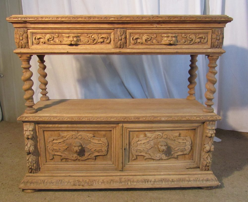 Victorian Bleached Carved Oak Sideboard Or Buffet