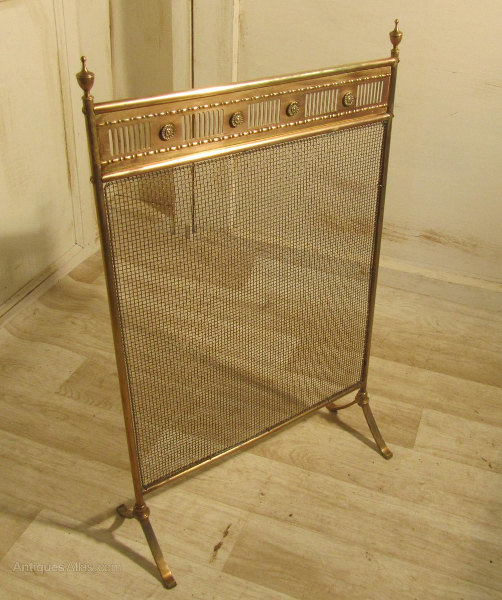 antiques atlas victorian brass spark guard fire screen