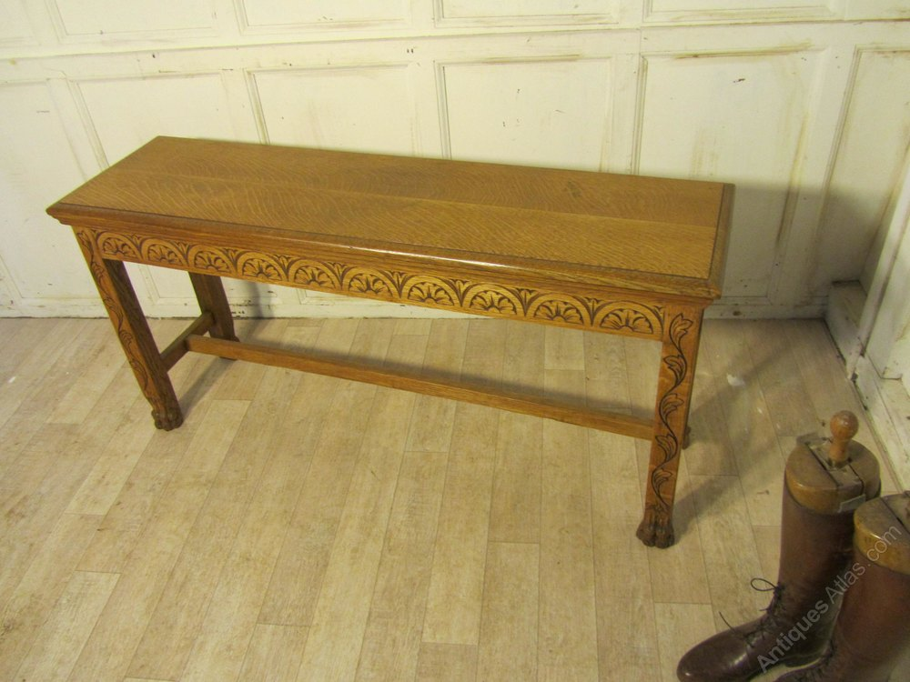 Victorian Carved Golden Oak Window Seat Hall Bench Antiques Atlas