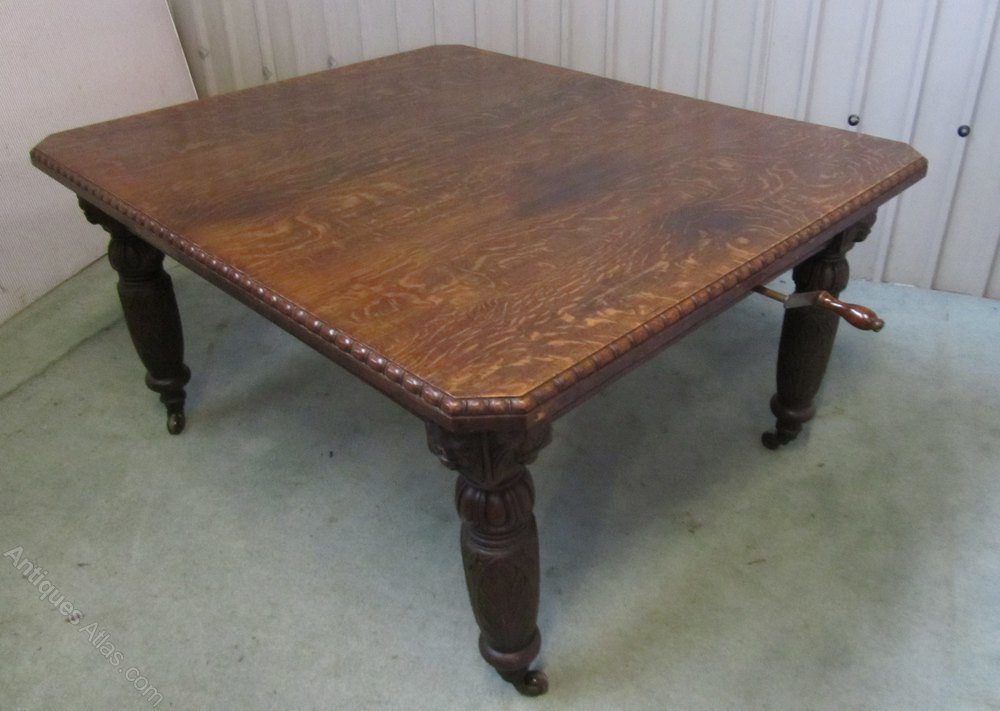 Victorian Carved Oak Extending Gothic Dining Table