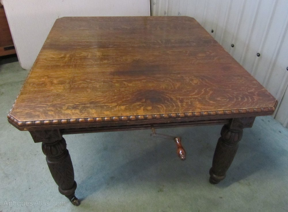 Victorian Carved Oak Extending Gothic Dining Table Antiques Atlas