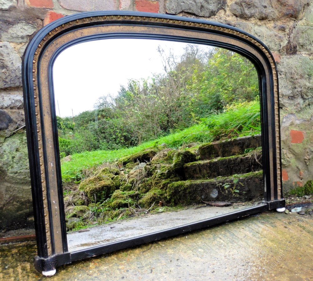 Antiques atlas victorian gold and black over mantle mirror for Mantle mirror