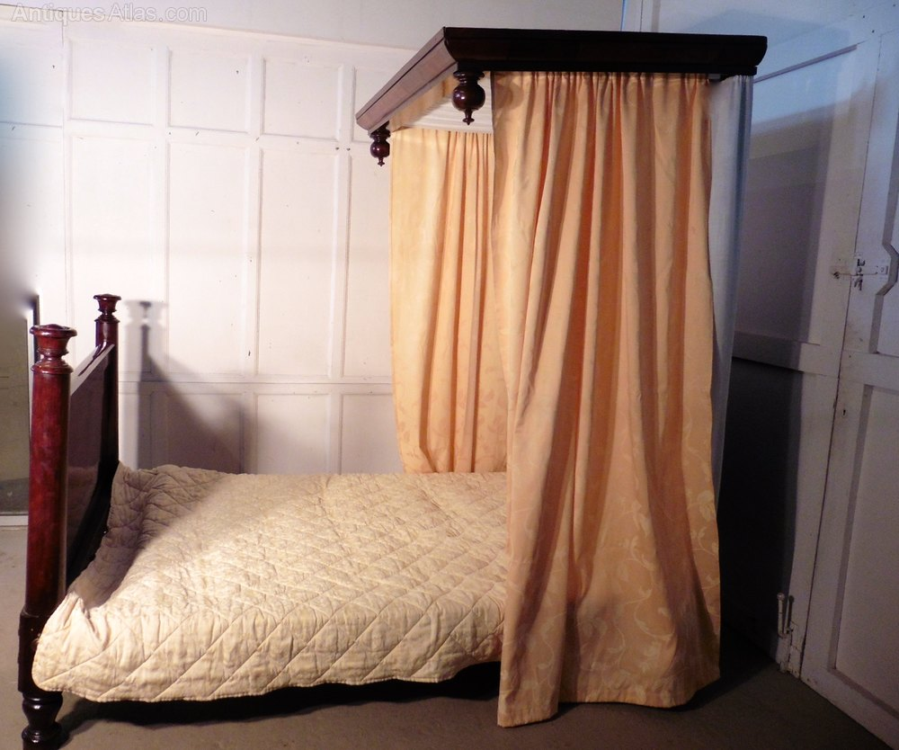 victorian mahogany 4ft6 half tester bed antiques atlas. Black Bedroom Furniture Sets. Home Design Ideas