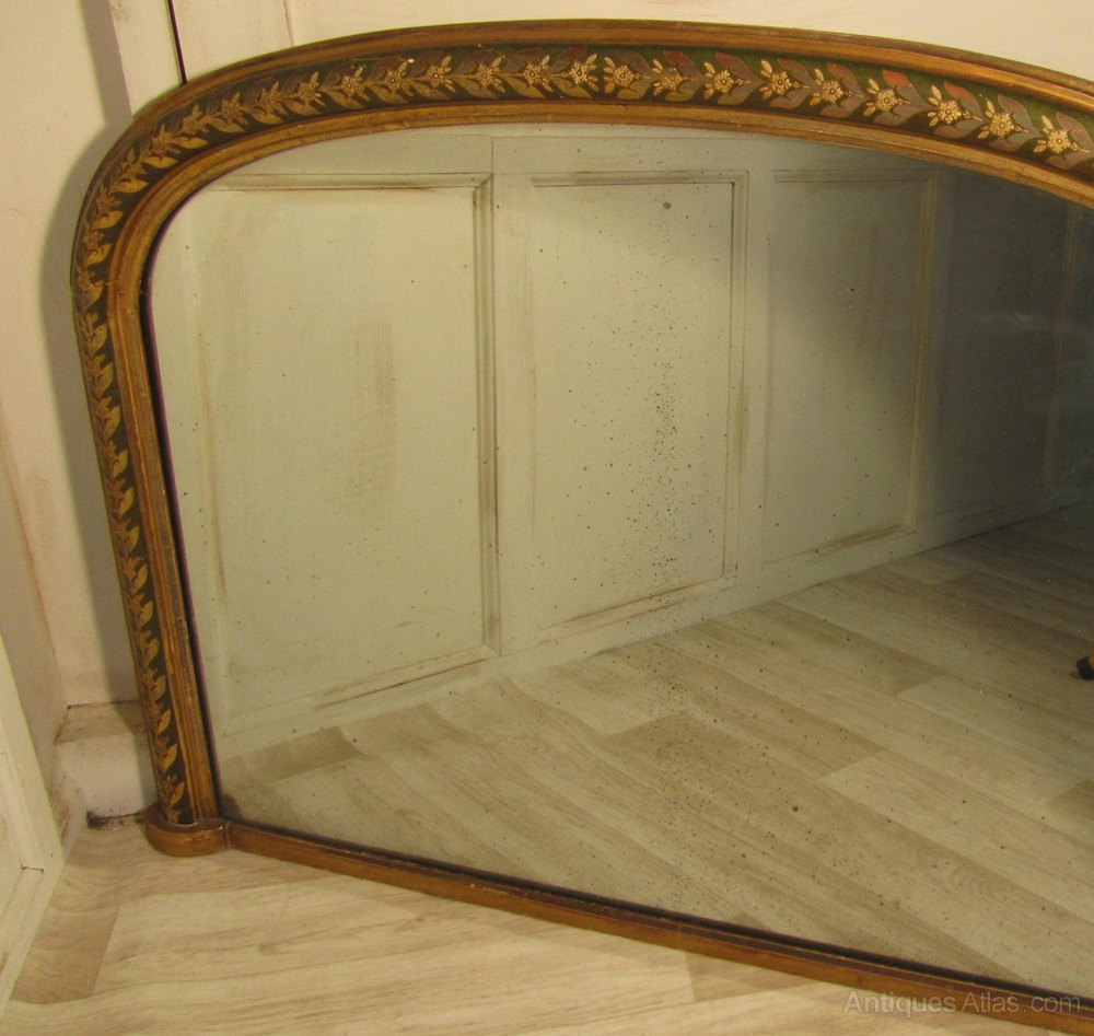 Antiques atlas victorian painted and gold over mantle mirror for Mantel mirrors
