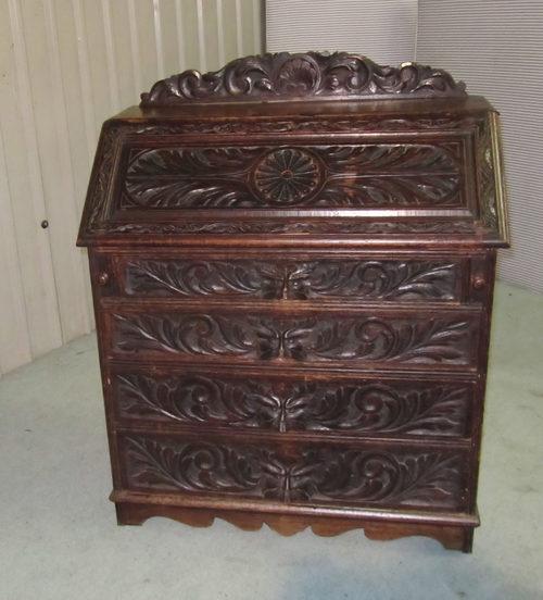 victorian pussy oak or green man desk or bureau antiques atlas. Black Bedroom Furniture Sets. Home Design Ideas