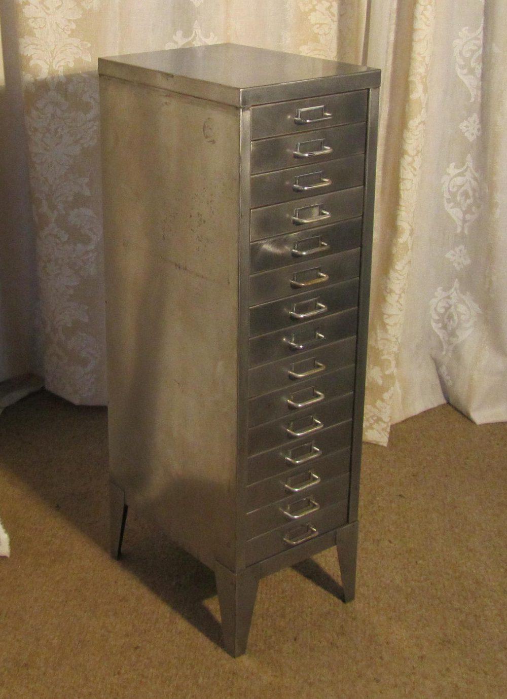 Vintage 20 Century Steel 15 Drawer Filing Cabinet