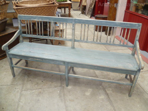 Antique Painted Pine Settle Bench Seat Antiques Atlas