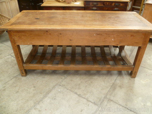 antique pine mill table~kitchen worktable~island - antiques atlas