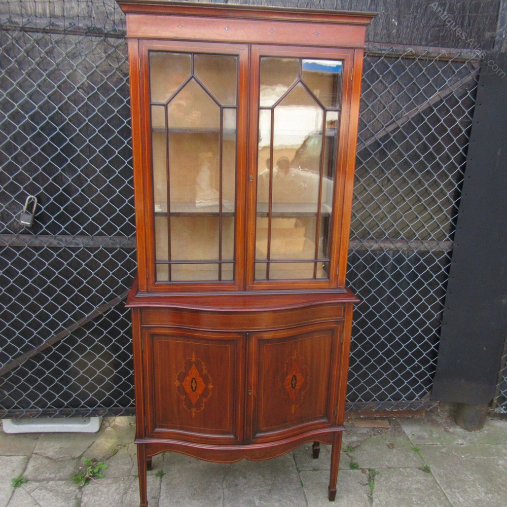 Antique edwardian inlaid display cabinet antiques atlas for Antique display cabinet