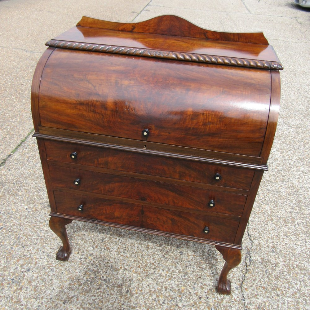 Antique walnut cylinder desk bureau antiques atlas for Bureau antique