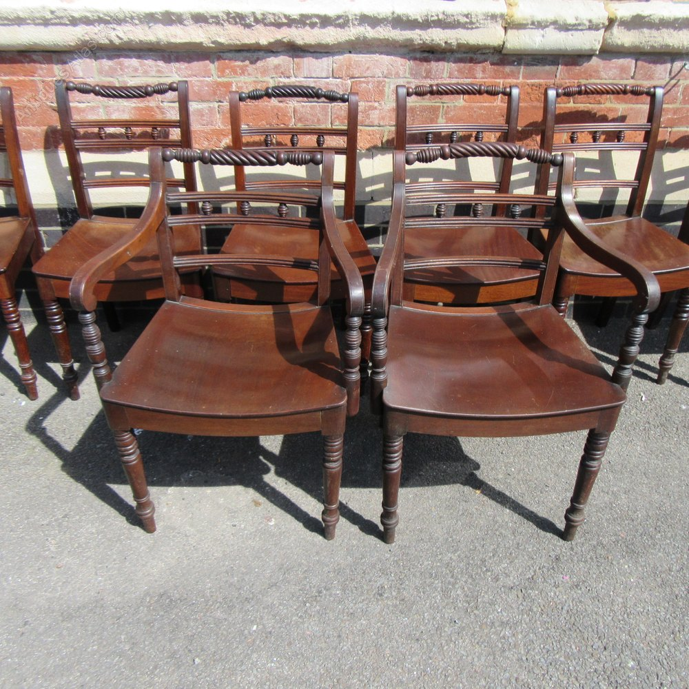 Eight Antique Regency Rope Back Dining Chairs Chair Sets Of 8