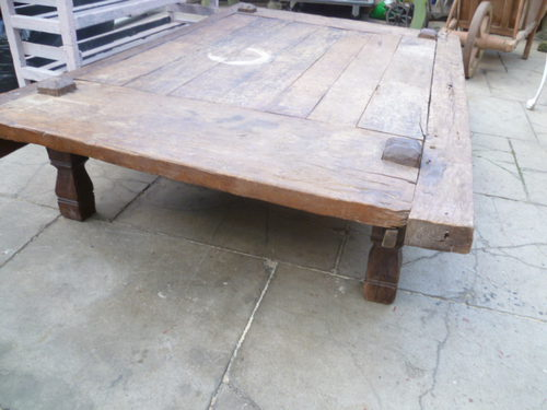 Large antique rustic low coffee table antiques atlas for Large low coffee table