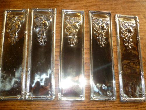 Set Of Six Antique Door Finger Plates ... - Antiques Atlas - SET OF SIX ANTIQUE DOOR FINGER PLATES